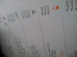 In menu cho quán bún bò Huế, in thực đơn cho quán bún bò Huế