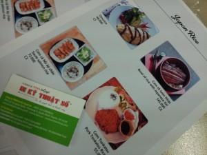 In menu quán bún, quán ăn sáng tại TPHCM với loại hình menu cuốn, bìa cứng, ruột giấy truyền thốn tại In Thực Đơn