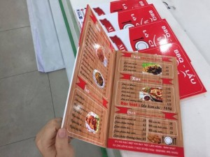 In menu cho quán nướng tại TPHCM | Loại hình in: in PP bồi formex, menu gấp 2, in full 6 mặt