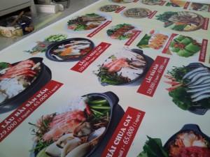 In menu cho quán nhậu hải sản, in thực đơn cho quán nhậu hải sản
