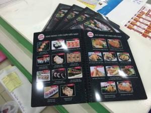 In thực đơn cho nhà hàng Love Sushi tại TPHCM | Loại hình in: menu nhựa đen, đóng gáy lò xo