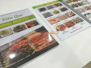In menu cho quán Xiên Que tại TPHCM thực hiện bởi In Thực Đơn | Loại hình in: in menu nhựa đóng gáy lò xo