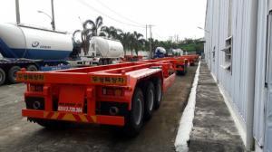 Moóc xương dài 12.3m chở container Doosung, tải trọng cao, 305 triệu