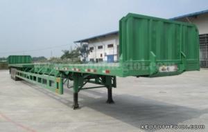 Moóc sàn rút Doosung Hàn Quốc loại chở thép ống 32 tấn 3 trục