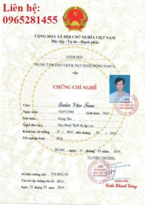 Học nhanh chứng chỉ thợ máy tại Thái Bình