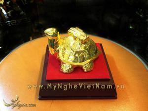 HotHot-tượng rùa cõng sách mạ vàng để bàn làm việc.MS05