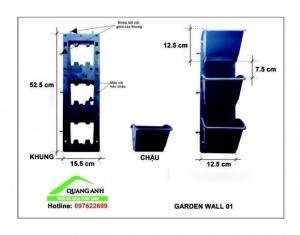 Sản phẩm Garden Wall 01 chuyên thi công vườn tường đứng Sản phẩm có màu đen, màu xanh, màu trắng và màu tím