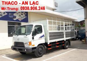 Xe tải Hyundai Thaco HD650 thùng mui bạt mở 5 bửng, tải trọng 6t4