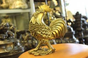 Qùa tết-tượng gà đồng lông tiền đứng tiền phong thủy bằng đồng