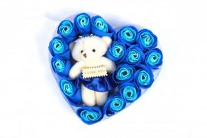 Hoa Hồng Sáp Trái Tim Kèm Gấu màu xanh