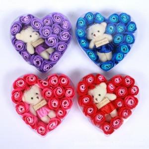 Quà tặng sinh nhật độc đáo - Hoa Hồng Sáp Trái Tim Kèm Gấu - MSN383128