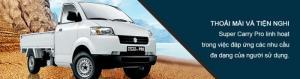 uzuki Việt Nam nhập khẩu  nguyên chiếc từ Indonesia và giới thiệu  đến người tiêu dùng Việt Nam dòng xe tải 7 tạ Suzuki Super Carry Pro hoàn toàn mới , có trợ lực lái với hai lựa chọn có và không có điều hòa. Nhiều màu cho các bạn lựa chọn như Trắng , Bạc  Động cơ dung tích lớn (1.6L) vận hành mạnh mẽ, hệ thống giảm xóc an toàn khi phanh gấp, thùng chở hàng rộng có thể mở 3 chiều, có khung bảo vệ sau cabin. Công nghệ TECT an toàn, Hệ thống giảm xóc trước MacPherson êm ái nhẹ nhàng. Xe tải Super Carry Pro hoàn toàn mới, với diện tích thùng rộng rãi, khả năng vận hành tối ưu, là sự lựa chọn lý tưởng cho các doanh nghiệp kinh doanh vận tải trong hiện tại và tương lai. Thoải mái và tiện nghi như một chiếc xe du lịch, Suzuki Carry Pro còn rất linh hoạt trong việc đáp ứng các nhu cầu đa dạng của người sử dụng.