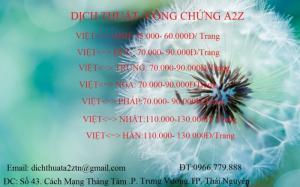 bảng giá dịch thuật các ngôn ngữ