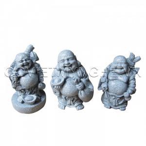 Bộ Ba tượng đá Phật Di Lặc (Màu Trắng).