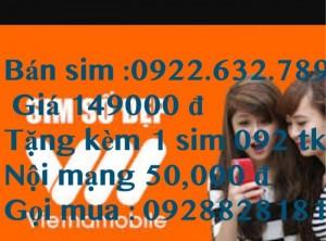 Sim 0922632789 giá chỉ 149000 đ tặng 1 sim 092