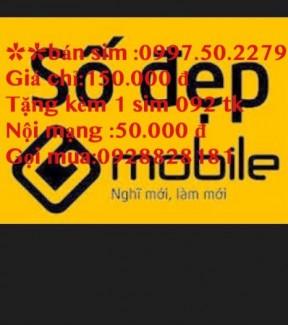 Sim gmobile 0997502279 gia 150k tang kem 1 sim 092 tk noi mang 50 k