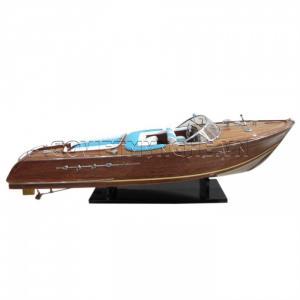 Tàu Mô Hình Riva Aquarama Gỗ/White-Blue Sofa 55cm-SKU-SPRWWB55