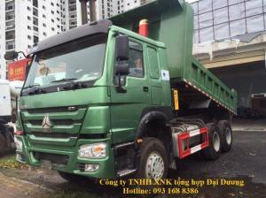 Xe ben 3 chân Howo 371 tải trọng 10-12 tấn thùng 10m3 đời 2017