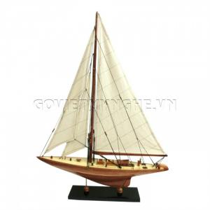 Mô Hình Du Thuyền Gỗ Shamrock 50cm Màu Gỗ-SKU-DTSH50G