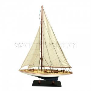 Mô Hình Du Thuyền Gỗ Endeavour 70cm Màu Trắng/Xanh-SKU-DTEN7TX