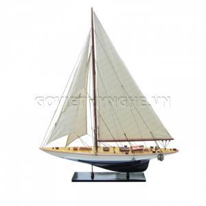 Mô Hình Du Thuyền Gỗ Shamrock 70cm Màu Trắng/Xanh-SKU-DTSH70TX