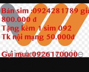 Sim đẹp giá rẻ 0924.281.789 giá chỉ 800.000 đ