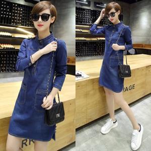 Đầm jean suông phối túi