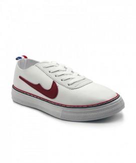 Giày nữ Sneaker trắng viền đỏ MSN8107