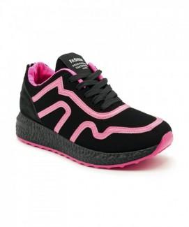 Giày nữ Sneaker đen họa tiết viền hồng MSN8163