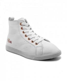 Giày nữ Sneaker trắng in hình cá sấu cổ cao MSN8168