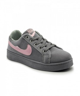 Giày nữ Sneaker xám viền hồng MSN8184
