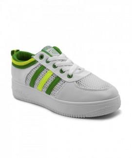 Giày nữ Sneaker trắng viền xanh vàng MSN8077