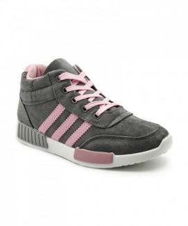 Giày nữ Sneaker xám sọc hồng MSN8117