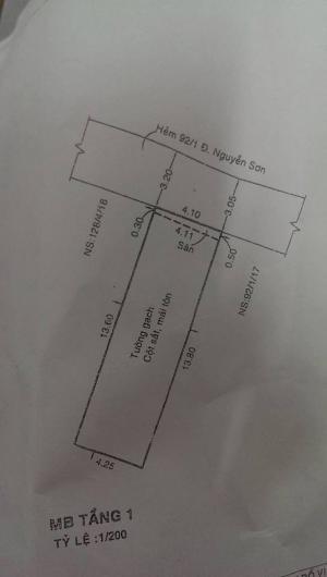 Bán nhà 2.55 tỷ, 4x14m, cấp 4 Hẻm 5m Nguyễn Sơn, P.Phú Thọ Hòa, Q.Tân Phú