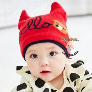 Nón Len Cho Bé Tai Thỏ Chữ Hello
