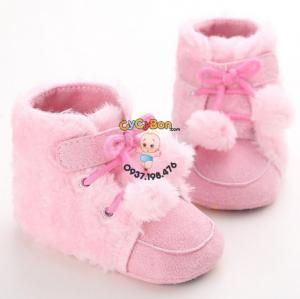 Giày Tập Đi Cho Bé Boot 2 Quả Bông Hồng