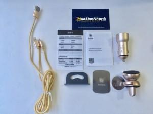 Combo sạc oto Baseus 02 USB + Đế hít điện thoại + Cáp sạc 2 đầu cùng lúc cho Android và iOS - MSN388074