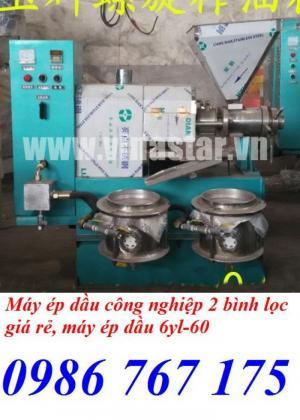 Máy ép dầu công nghiệp 6yl-60 có 2 bình lọc giá rẻ