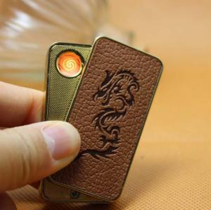 Hộp quẹt pin sạc vỏ da cao cấp Leather Creative Lighter