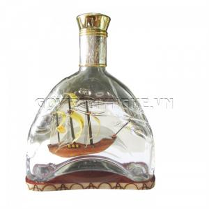 Mô Hình Thuyền Gỗ Trong Chai Thủy Tinh Martell X.O N2, Dài 18 x Rộng 7 x Cao 24 (cm)  - Giá 320.000₫