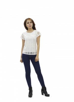 Áo nữ ngắn tay lưới cát 2 lớp trắng hàng VNXK...