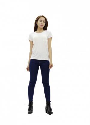 Áo nữ ngắn tay trắng trơn túi trước 100...