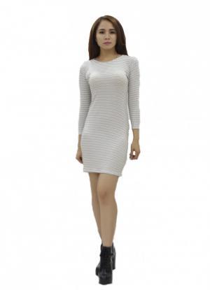 Đầm ôm cao cấp tay dài trơn cổ điển trắng sọc...