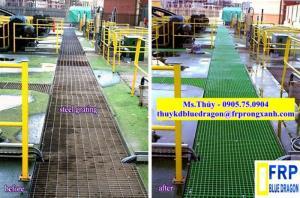 Tấm sàn ô lưới sợi thủy tinh frp grating, tấm mương thoát nước không rỉ sét