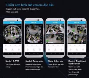 Camera IP VR 365 độ - gắn trần nhà 360 HD kết nối điện thoại