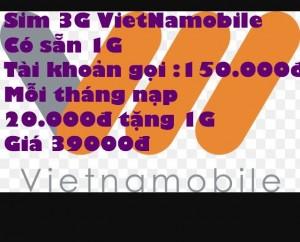 sim 3G VietNamobile giá siêu rẻ có sẵn 1g