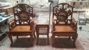 Ghế móc ĐÁ gỗ gụ