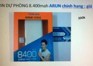 Pin sạc dự phòng Arun chính hãng