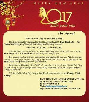 Dịch thuật A2Z nha trang chúc mừng năm mới