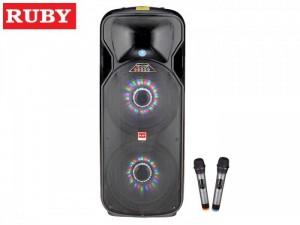 Loa di động RUBY 4 tấc đôi R-2151A Giá: 4,800,000 VNĐ ( GIẢM NGAY 300,000Đ) Công suất : 80W Bass 4 tấc đôi (40 cm) Tăng phô 10A kép Dòng loa RUBY R-2151A đang được yêu thích trên thị trường bởi vẻ ngoài đep. Thích hợp dùng cho các cuộc vui chơi ngoài trời, hội họp, ca hát,…. Đi kèm là 2 micro không dây cao cấp thân làm bằng nhôm